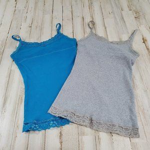 Justice Girls Lot of 2 Tank Tops 10 Gray & Blue
